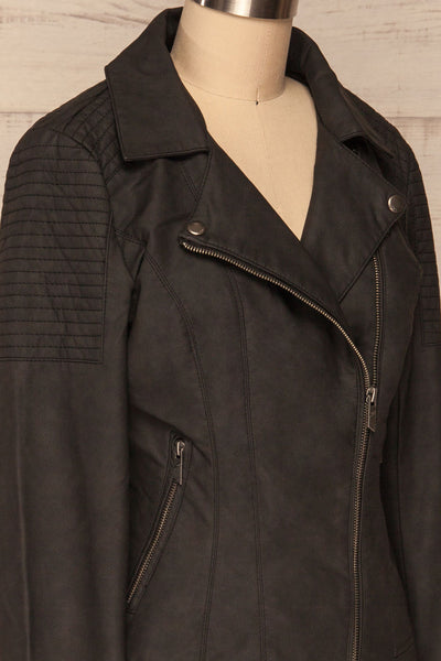 Washington Black Faux Leather Motorcycle Jacket | La Petite Garçonne 6