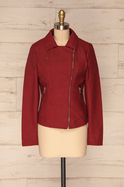 Washington Red Faux Leather Motorcycle Jacket | La Petite Garçonne 1
