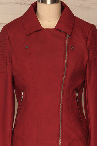Washington Red Faux Leather Motorcycle Jacket | La Petite Garçonne 4