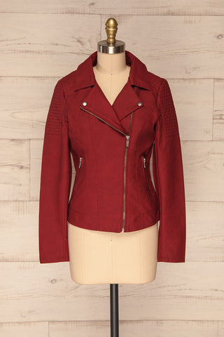Washington Red Faux Leather Motorcycle Jacket | La Petite Garçonne 3
