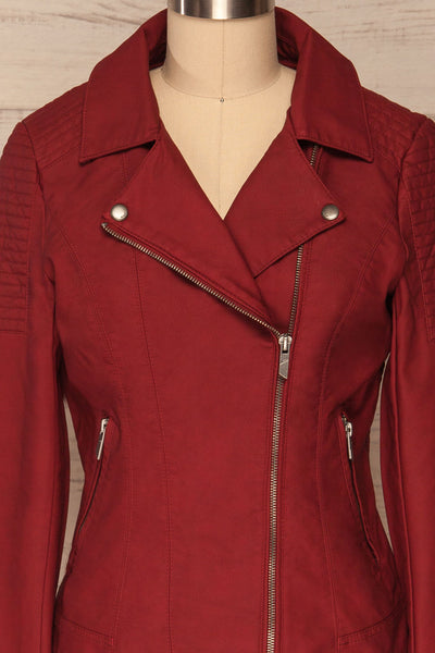 Washington Red Faux Leather Motorcycle Jacket | La Petite Garçonne 2