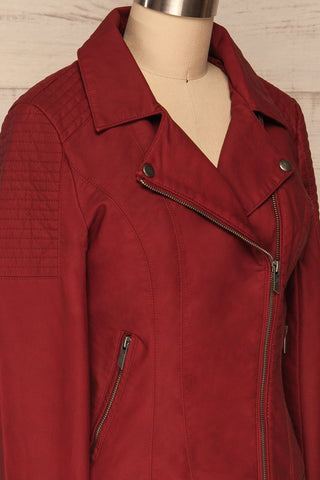 Washington Red Faux Leather Motorcycle Jacket | La Petite Garçonne 6
