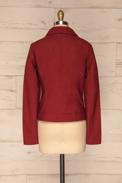 Washington Red Faux Leather Motorcycle Jacket | La Petite Garçonne 7