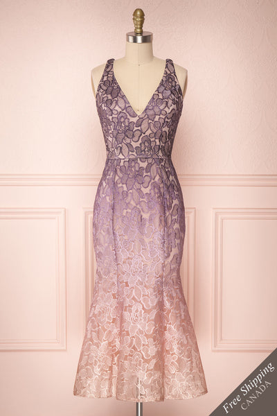 Wazukka Purple & Pink Ombre Embroidered Cocktail Dress | Boutique 1861