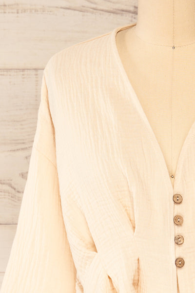 Westport Beige Cropped V-Neck Top | La petite garçonne front close-up