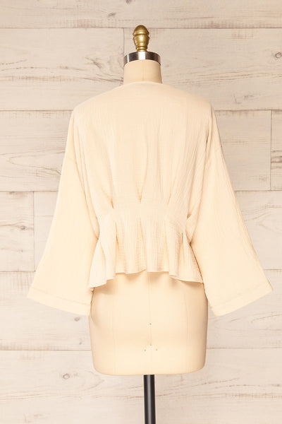 Westport Beige Cropped V-Neck Top | La petite garçonne back view