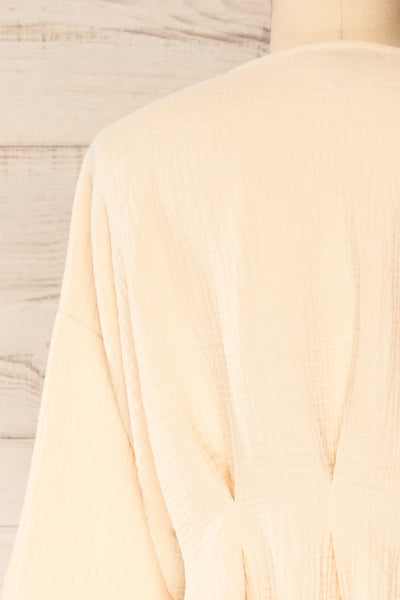 Westport Beige Cropped V-Neck Top | La petite garçonne back close-up