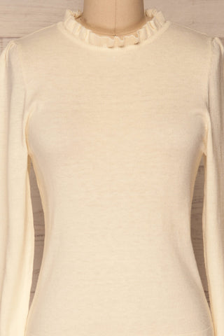 Wigan Beige Knit Sweater | Tricot Beige | La petite garçonne front close-up