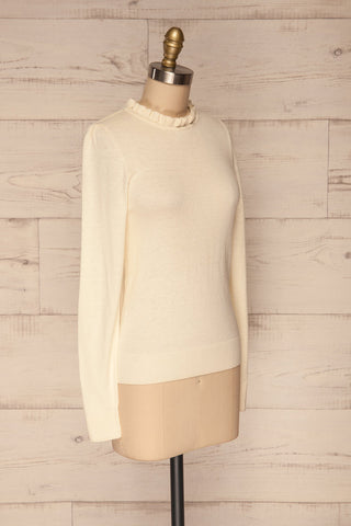 Wigan Beige Knit Sweater | Tricot Beige | La petite garçonne side view