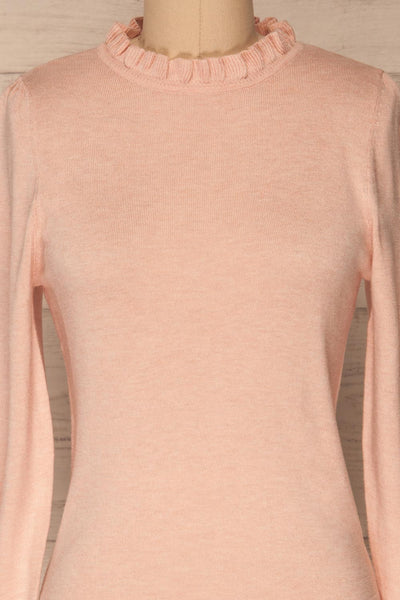 Wigan Rose Knit Sweater | Tricot Rose | La petite garçonne front close-up