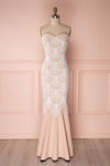 Willyane Pinkish Beige Crocheted Lace Mermaid Gown | Boutique 1861