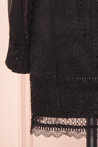 Winifred Black Lace Dress | Robe Cocktail sleeve close up| Boutique 1861