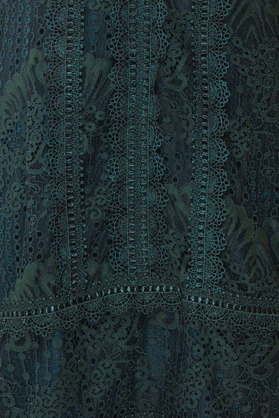 Winifred Emerald Lace Dress | Robe Cocktail fabric close up | Boutique 1861