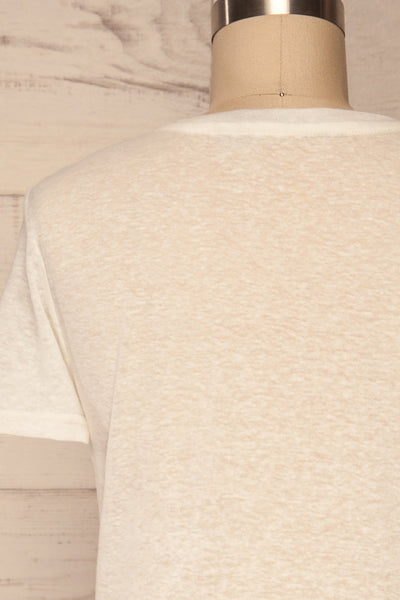 Winona White V-Neck T-Shirt | La petite garçonne back close up