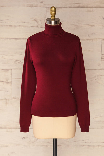 Winschoten Burgundy Long Sleeve Turtleneck | La petite garçonne front view