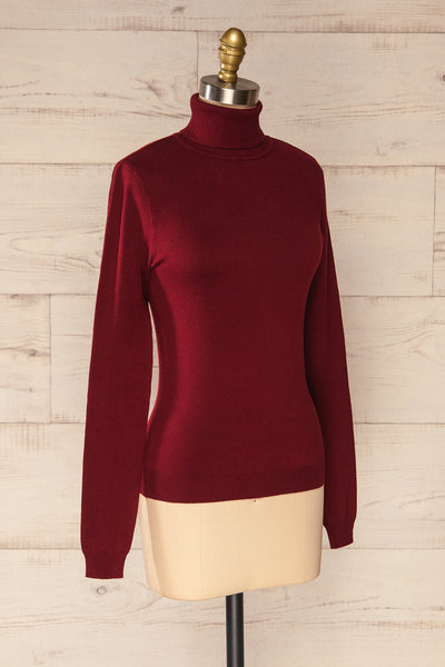 Winschoten Burgundy Long Sleeve Turtleneck | La petite garçonne side view