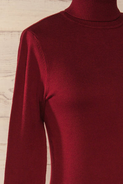 Winschoten Burgundy Long Sleeve Turtleneck | La petite garçonne side close-up