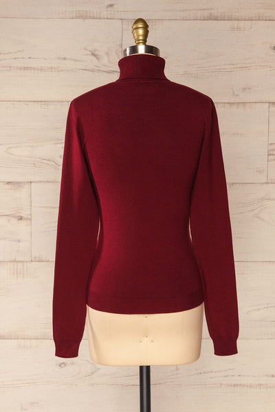 Winschoten Burgundy Long Sleeve Turtleneck | La petite garçonne back view