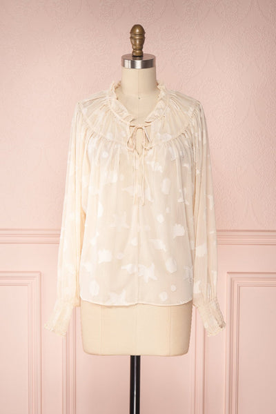 Wisal Loose Cream Plumetis Puff Sleeved Top | Boutique 1861