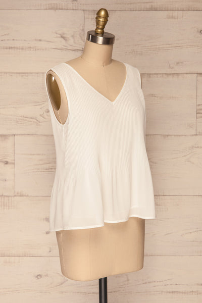 Xammes White V-Neck Pleated Cami | La petite garçonne side view
