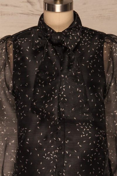 Xandra Print Black Tulle Shirt w/ Bow front close up bow | La petite garçonne