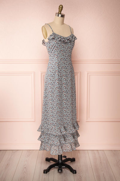 Xenia Blue Floral Maxi Dress w/ Ruffles side view | Boutique 1861