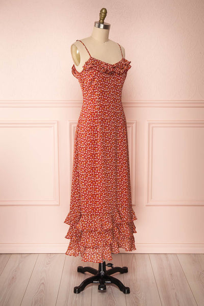 Xenia Red Floral Maxi Dress w/ Ruffles side view | Boutique 1861