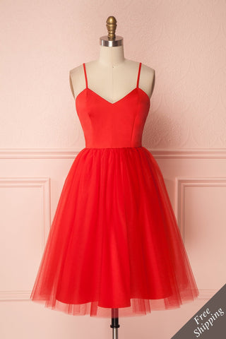 Yara Red Tulle Party Dress by Jordan de Ruiter | Boutique 1861