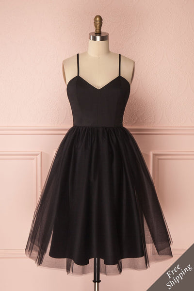 Yara Black Tulle Party Dress by Jordan de Ruiter | Boutique 1861