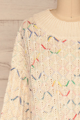 Yaryna Beige Loose Knit Sweater | La Petite Garçonne front close-up