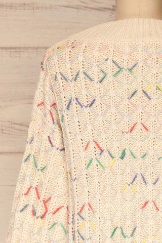 Yaryna Beige Loose Knit Sweater | La Petite Garçonne back close-up