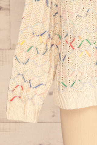 Yaryna Beige Loose Knit Sweater | La Petite Garçonne bottom close-up