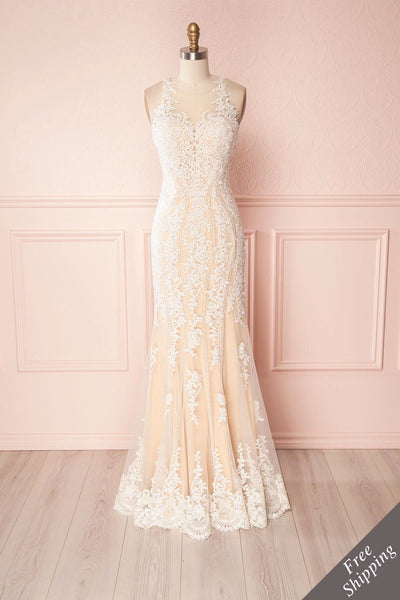 Yebin Beige Embroidery & Beads Bridal Dress | Boutique 1861
