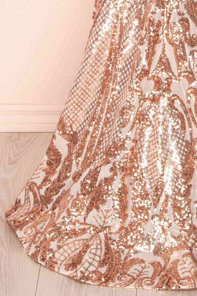 Yellena Rose Gold Off Shoulder Gown with Sequins | Boutique 1861