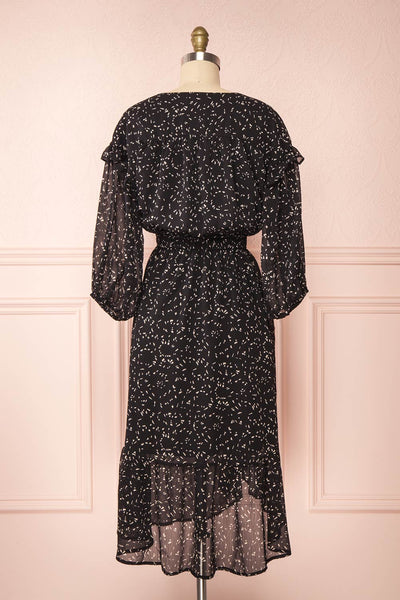Yneth Black Patterned Midi Dress | Boutique 1861 back view