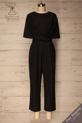 Yolet Black Pleated Jumpsuit with Tied Waist | La Petite Garçonne