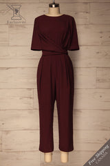 Yolet Burgundy Pleated Jumpsuit with Tied Waist | La Petite Garçonne