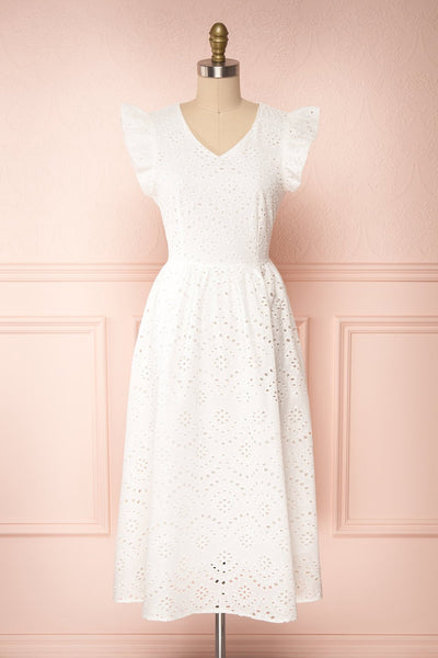 Yousra Blanc White Openwork Midi Dress | Boutique 1861