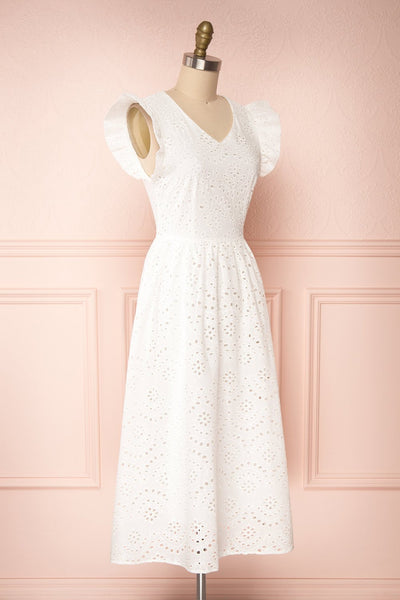 Yousra Blanc White Openwork Midi Dress side view | Boutique 1861
