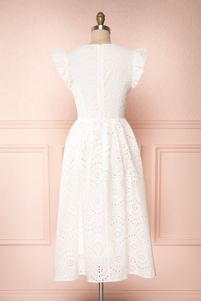 Yousra Blanc White Openwork Midi Dress back view | Boutique 1861