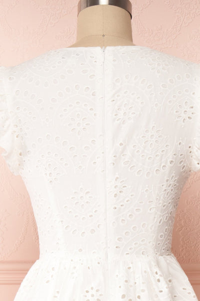 Yousra Blanc White Openwork Midi Dress back close up | Boutique 1861