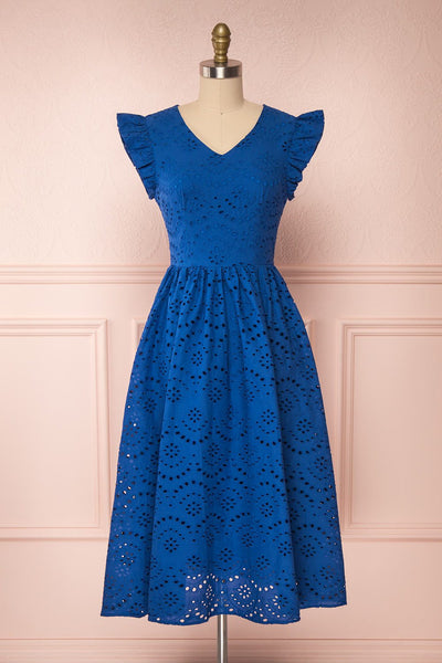 Yousra Bleu Blue Openwork Midi Dress | Boutique 1861