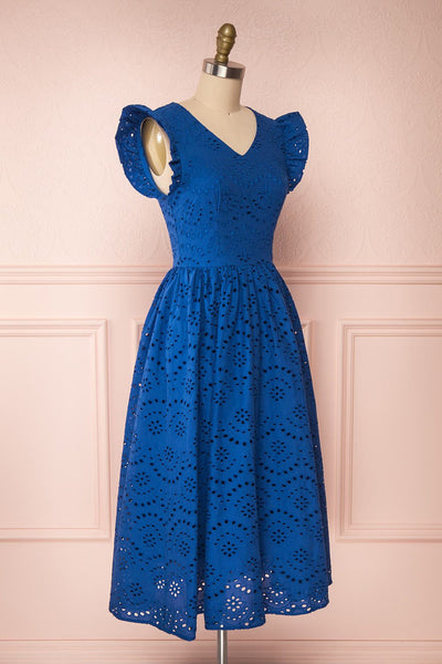 Yousra Bleu Blue Openwork Midi Dress side view | Boutique 1861