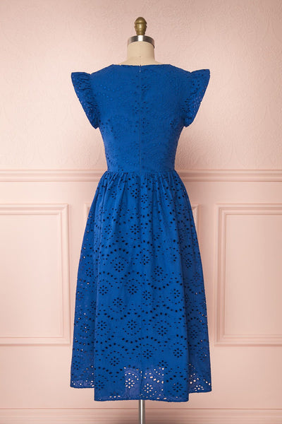 Yousra Bleu Blue Openwork Midi Dress back view | Boutique 1861