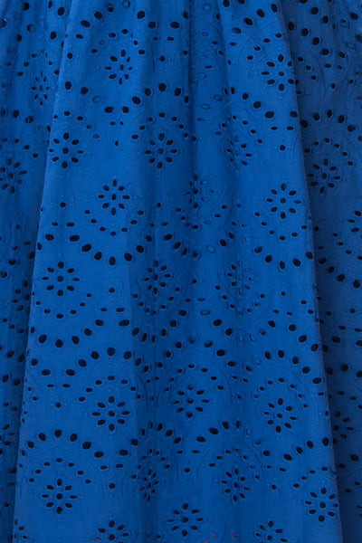 Yousra Bleu Blue Openwork Midi Dress fabric | Boutique 1861