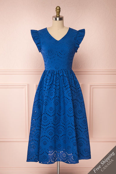 Yousra Bleu Blue Openwork Midi Dress front view | Boutique 1861
