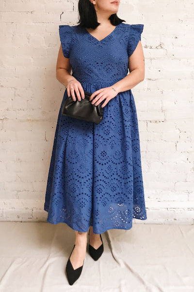 Yousra Bleu Blue Openwork Midi Dress | Boutique 1861 model look