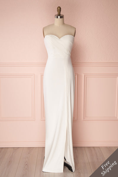 Ysati Off-White Pleated Bodice Fitted Gown | Boudoir 1861