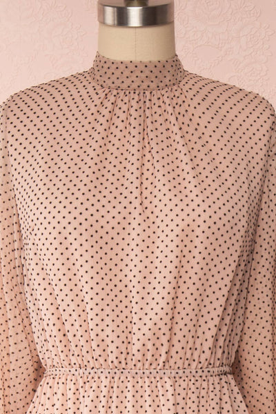 Yseult Light Pink Long Sleeved Maxi Dress | La petite garçonne front close up