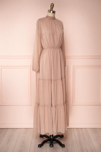 Yseult Light Pink Long Sleeved Maxi Dress | La petite garçonne side view
